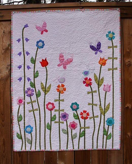 ba girl flower applique quilt quilting land appliqu Modern Floral Applique Quilt Patterns Gallery