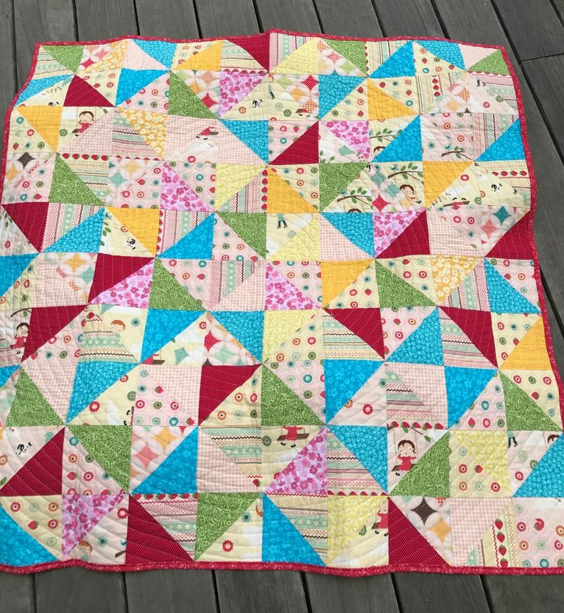ba quilt handmade crib quilt broken dishes quilt pattern fly a kite october afternoon ready to ship Modern Broken Dishes Quilt Pattern