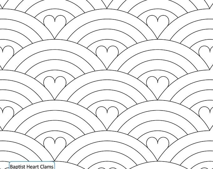 baptist heart clams longarm quilting digital pattern for Stylish Statler Stitcher Quilting Patterns Inspirations