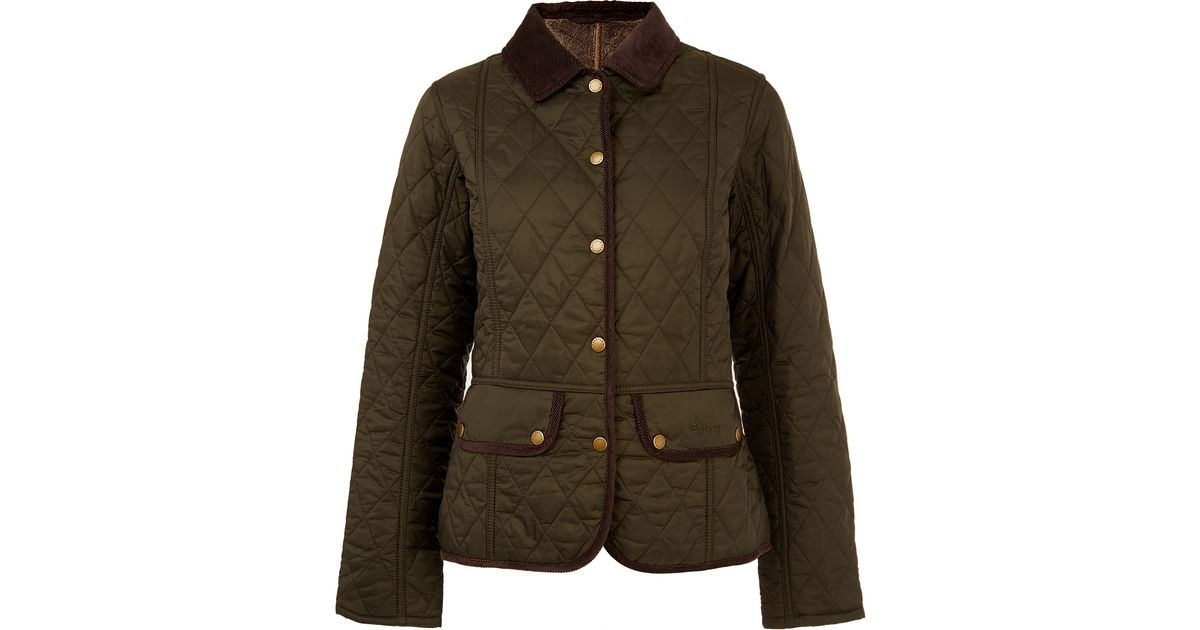 barbour green olive vintage quilted jacket for men lyst Cool Barbour Vintage Quilted Jacket With Cord Collar And Trims