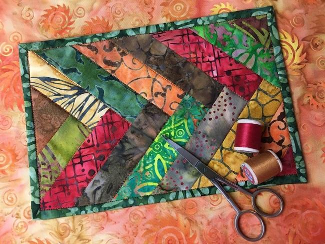 batik braided mug rug quilting free pattern on bluprint Stylish Quilted Mug Rug Patterns Gallery