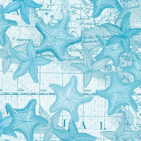 beach fabric cotton quilting high tide aqua starfish 42817 1 12 yd cuts quilting sewing crafting fabrics material quilts Cool Beach Fabric For Quilting