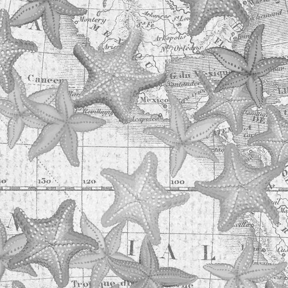 beach fabric cotton quilting high tide gray starfish 42817 2 12 yd cuts quilting sewing crafting fabrics material quilts Cool Beach Fabric For Quilting