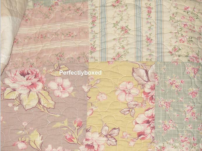 bedspread patchwork king vintage floral pink blue shams camille Modern Vintage Floral Quilt Inspirations