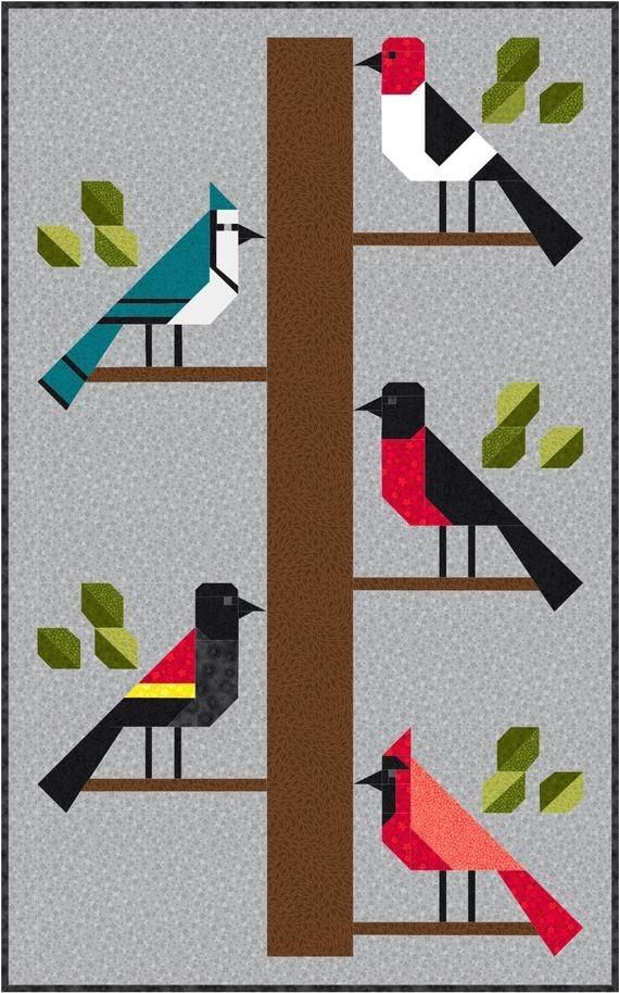 birds of a feather quilt pattern pdf instant download etsy Modern Birds Of A Feather Quilt Pattern Inspirations