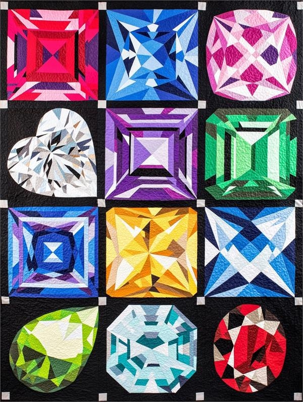 birthstones jewel box quilt gemstone quilt mj kinman at Elegant Sparkling Gemstones Free Quilt Pattern Inspirations