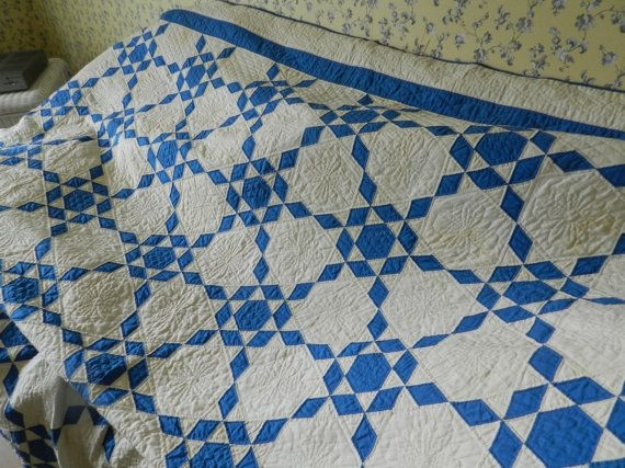 blue and white antique quilt pattern name ozark diamonds Cool Vintage Quilt Pattern Names