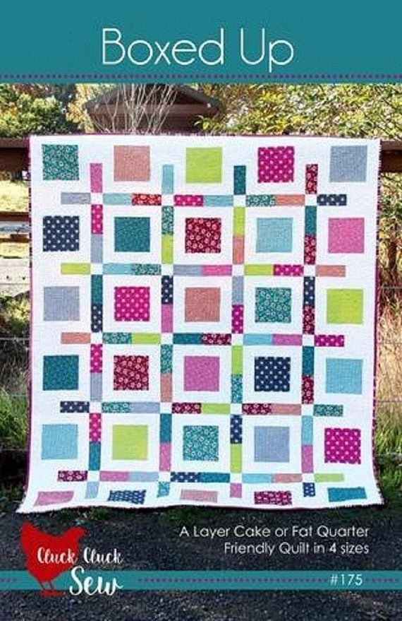 boxed up quilt pattern cluck cluck sew 175 fat quarter friendly and layer cake friendly quilt pattern in four sizes Cool Fat Quarter Friendly Quilt Patterns Gallery