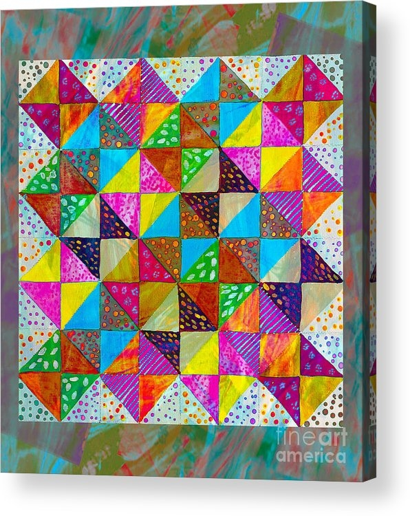 broken dishes quilt pattern painting 2 acrylic print Modern Broken Dishes Quilt Pattern