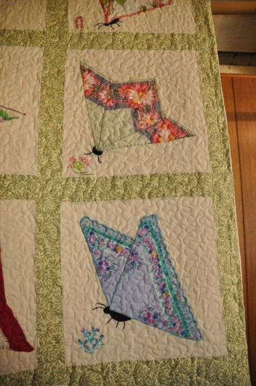 butterfly quilt from vintage hankies butterfly quilt Unique Vintage Handkerchief Quilt Pattern Inspirations