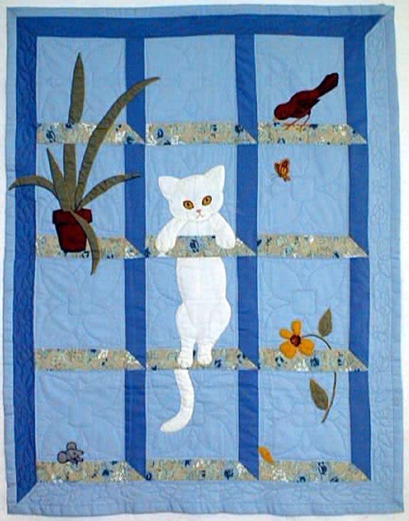 cat in the window quilt pattern at bonnet girls cat quilts Elegant Cat Applique Quilt Patterns