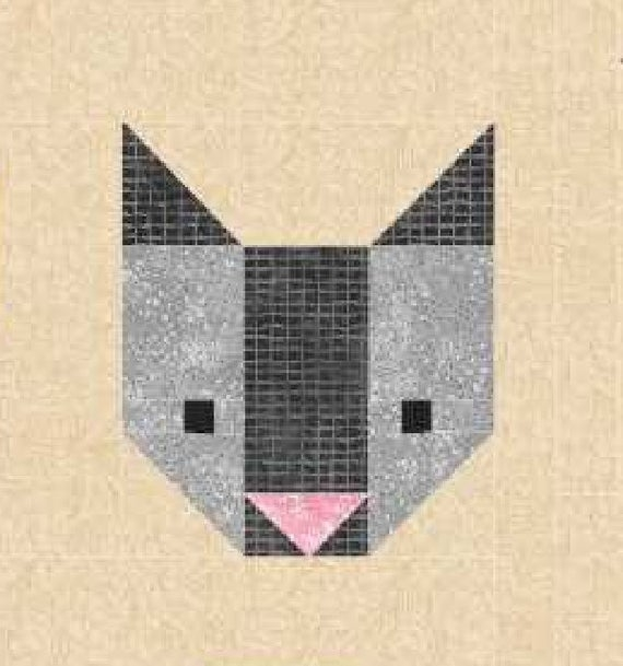 cat quilt block pattern pdf instant download modern patchwork pet animal cute kitten Cool Patchwork Cat Quilt Block Patterns Gallery