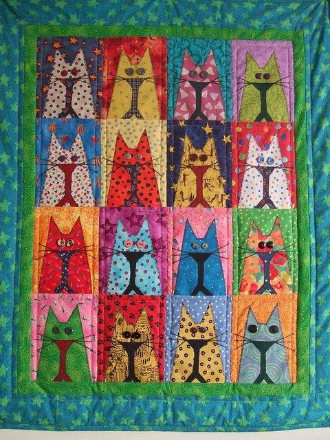cat quilt with button eyes cat quilts cat quilt cat Elegant Cat Applique Quilt Patterns
