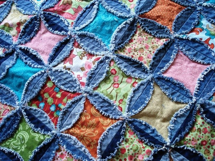 cathedral rag quilt patterns cathedral windowdenim rag Mock Cathedral Window Quilt Pattern Inspirations