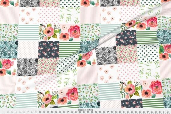 cheater quilt fabric floral dreams whole cloth quilt shopcabin boho floral ba girl green cotton fabric the yard with spoonflower Modern Quilting Fabric Whole
