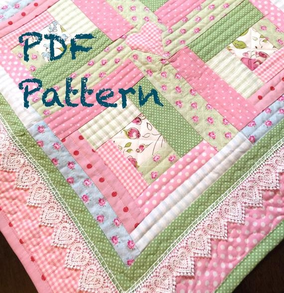 chic ba girl quilt pattern log cabin quilt pattern modern ba quilt pattern ba quilt pattern pdf pattern quilt Stylish Baby Girl Quilt Patterns Gallery