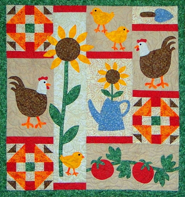 chickens in the garden quilt pattern ctg 164 quilts Cool Beginner Applique Quilt Patterns