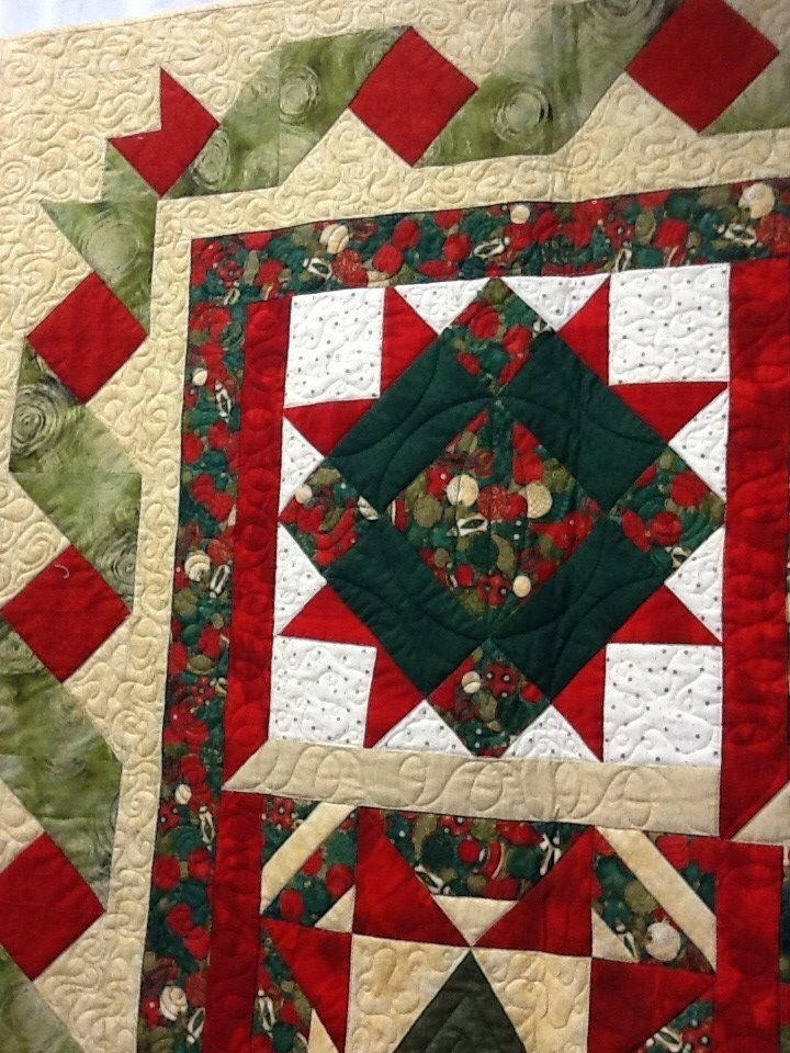 christmas quilt with a pretty ribbon border quilting Unique Ribbon Border Quilt Pattern Inspirations