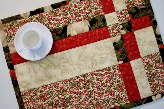 christmas quilted placemats camellia print set of 4 Christmas Quilting Placemat Gallery