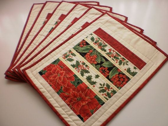christmas quilted placemats traditional set of 6 Christmas Quilting Placemat Gallery