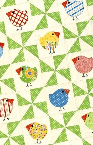 chub chicks download pdf pattern quilts applique Cozy Chubby Chicks Quilt Pattern