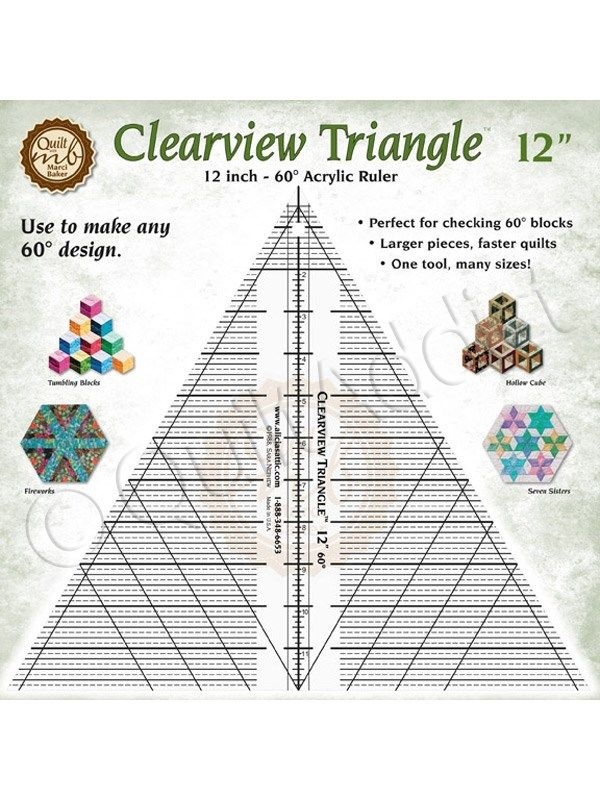clearview triangle 12 inch 60 degree acrylic quilt ruler for tumble blocks cubes Unique Triangle Ruler For Quilting