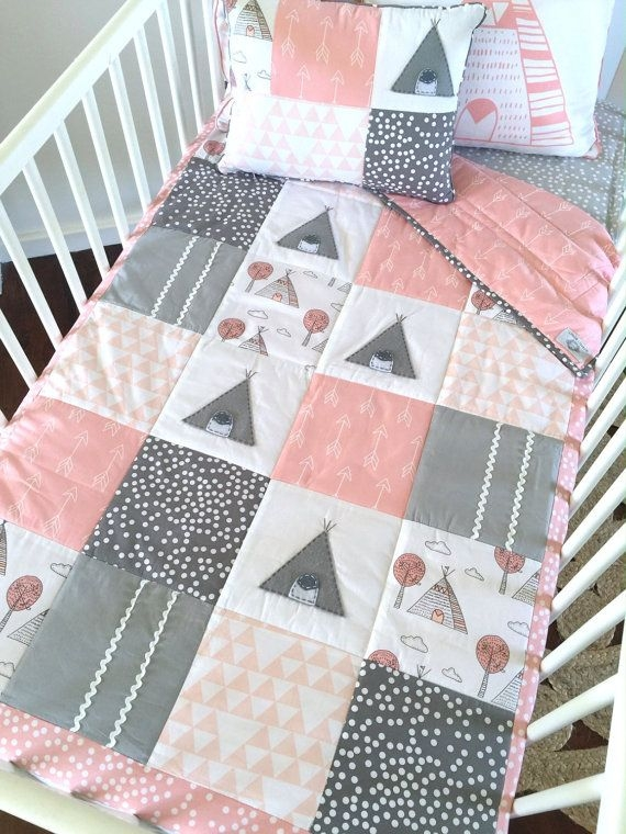 closing sale little teepee girls crib set 4pce patchwork Stylish Cot Quilt Patchwork Patterns Inspirations