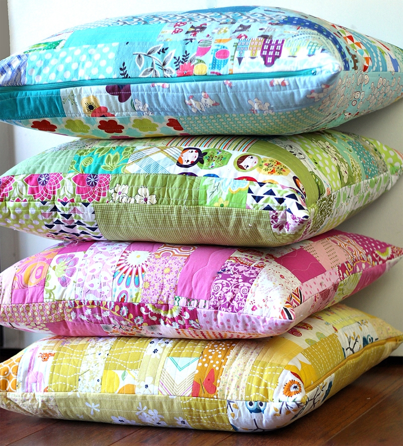 color strips scrap floor pillows tutorial sew mama sew Cool Quilted Pillows Patterns Inspirations