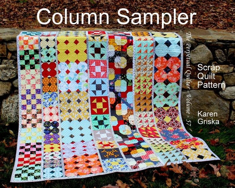 column sampler quilt pattern easy scrap quilt pattern extra long twin quilt instant download Interesting Easy Scrap Quilt Patterns