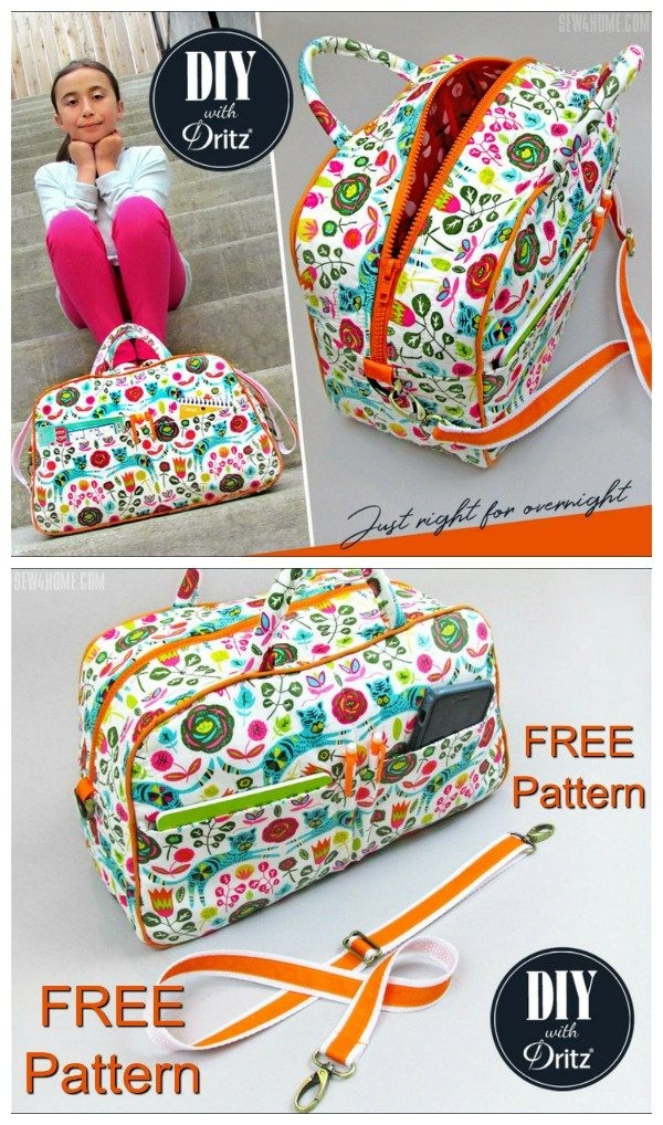 compact quilted duffle bag free pattern tutorial Stylish Quilted Duffle Bag Pattern