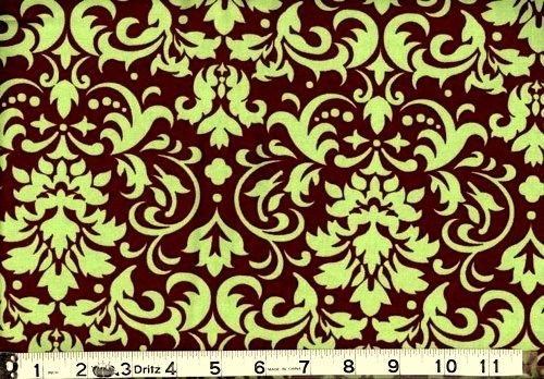 cotton quilt fabric delightful damask brown and celery green Interesting Unique Damask Quilting Fabric