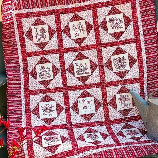 country garden hand embroidery quilt 1139 Stylish Hand Embroidered Quilt Patterns