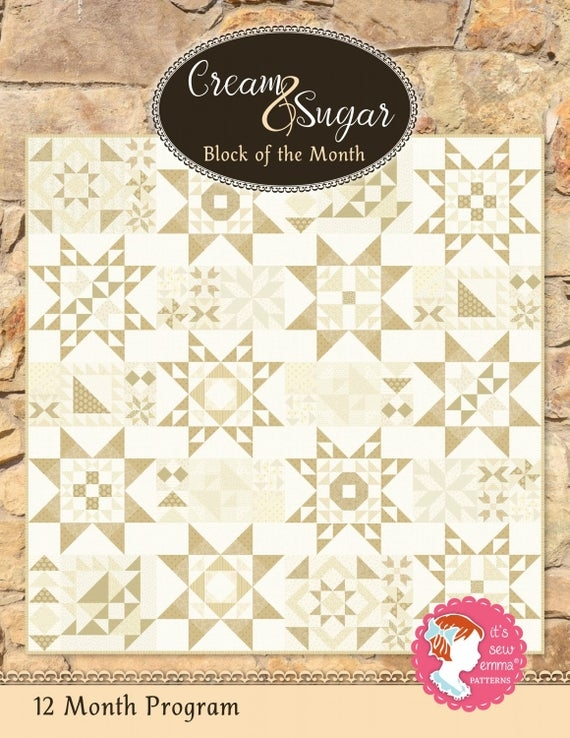 cream sugar block of the month quilt pattern from its sew emma Cool Block Of The Month Quilt Patterns