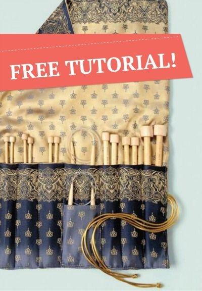 create your own knitting needle case free tutorial sew Elegant Quilted Knitting Needle Case Pattern
