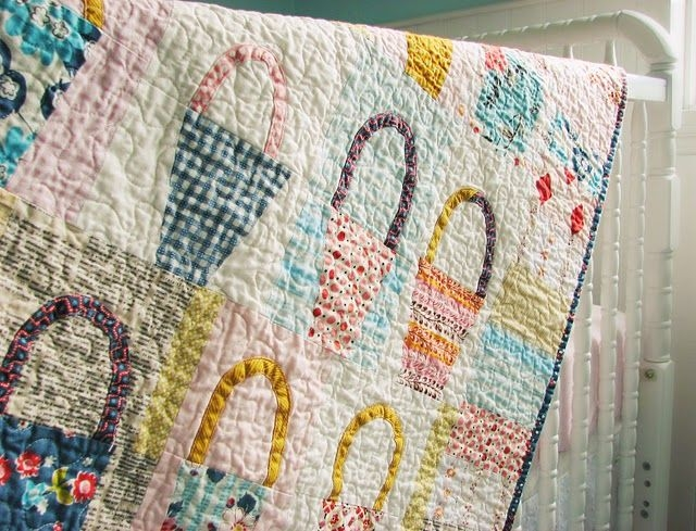 cute vintage looking baskets quilt with modernretro Elegant Vintage Looking Quilts Inspirations