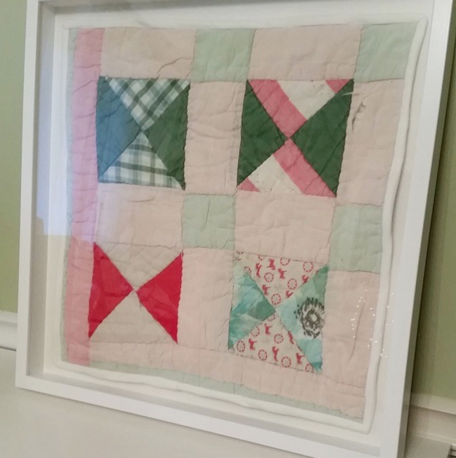 damaged quilt preserved in shadowbox crafts home decor Cool Frames For Ba Baby Quilts Inspirations