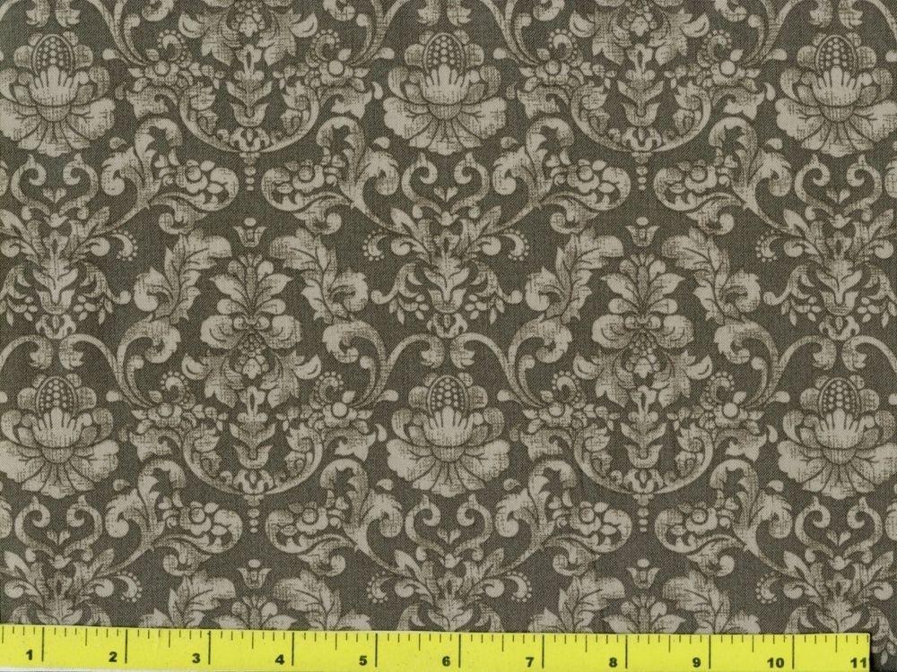 dark brown grey victorian damask quilting fabric yard 198 Interesting Unique Damask Quilting Fabric