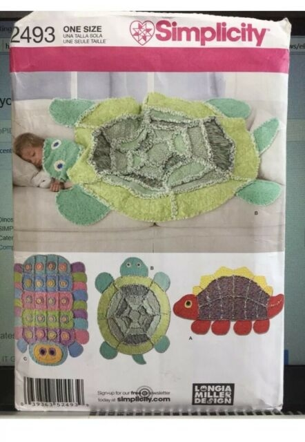 dinosaur rag quilt pattern simplicity 2493 new uncut turtle caterpillar Interesting Turtle Rag Quilt Pattern