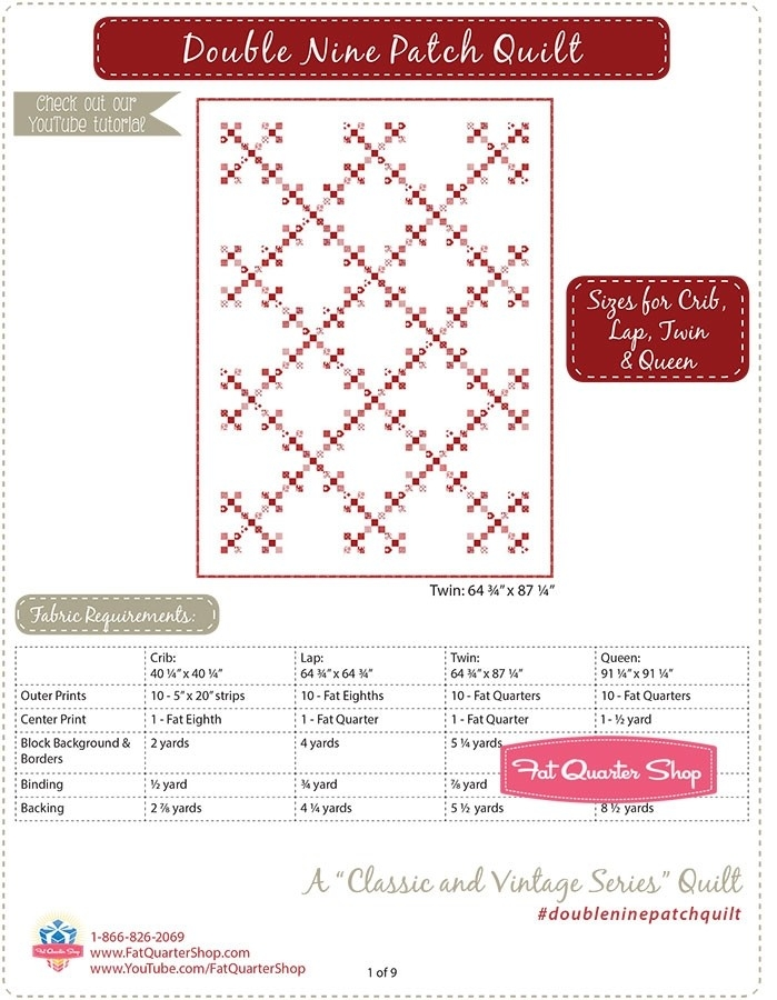 double nine patch classic vintage downloadable pdf quilt Double Nine Patch Quilt Pattern Gallery