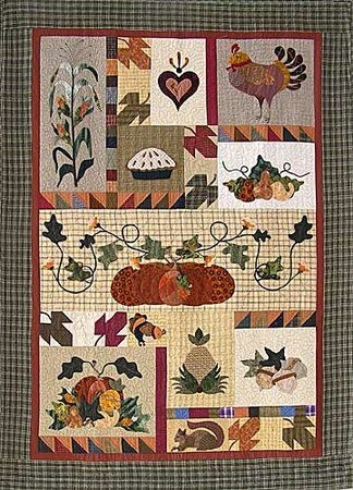dressed for dinner quilt w pumpkins pearl p Interesting Wool Applique Quilt Patterns