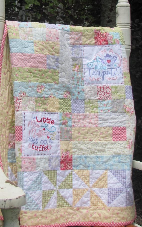 easy ba quilt pattern with machine embroidery blocks nursery rhyme embroidery design Interesting Nursery Rhyme Quilt Patterns Inspirations