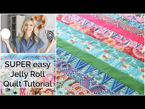 easy beginner quilting tutorial with a jelly roll youtube Cozy Jelly Roll Quilt Patterns Youtube Inspirations