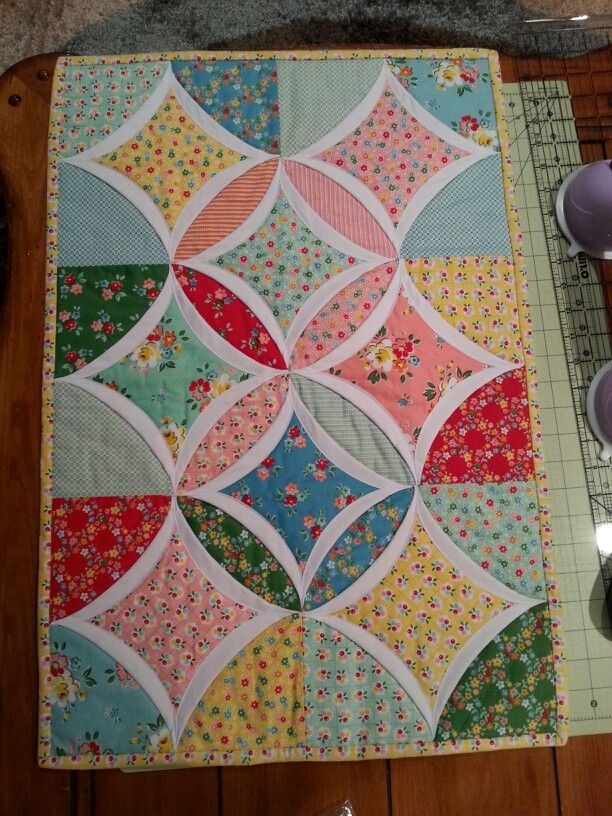 easy cathedral window table topper projects arlene Cozy Easy Cathedral Window Quilt Pattern