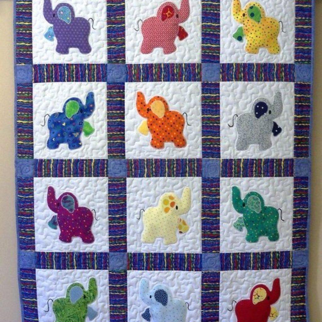 elephant treasures handmade quilt ba elephant quilt Interesting Quilting Patterns Pinterest