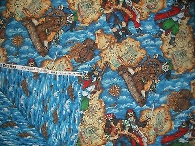 fabri quilt sea of doom pirates double sided prequilted quilt fabric 1 yd ebay Unique Fabri Quilt Pre Quilted Fabric
