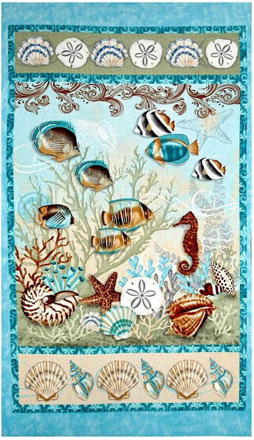 fabric gorgeous underwater beach tropical scene on a fabric Cool Beach Fabric For Quilting