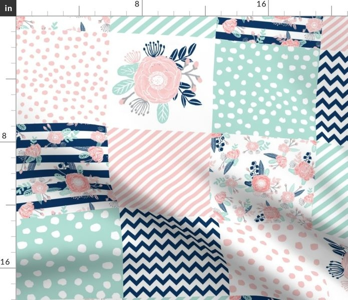 fabric the yard cheater quilt fabric girls fabric pink mint and navy floral cheater fabric Unique Cheater Quilt Fabric