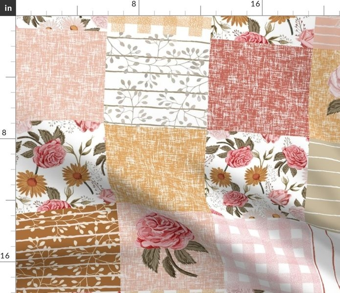 fabric the yard symphony rose cheater quilt muted vintage floral quilt girls floral ba girl cheater quilt girls cheater ba girl 6 Modern Vintage Floral Quilt Inspirations