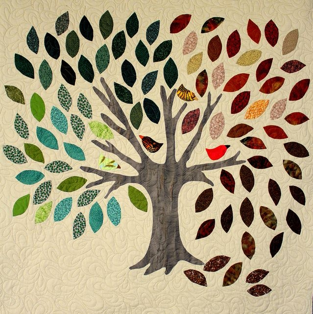 family tree wall hanging around the block with the Stylish Family Tree Quilt Pattern