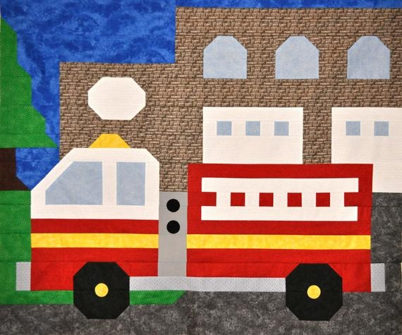 fire truck quilt pattern in multiple sizes from small wall decor to bordered twin Stylish Fire Truck Quilt Pattern Inspirations